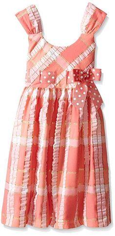 BONNIE JEAN Girls Coral Plaid Seersucker Dot Bow Spring Aline Dress Size 4 5 6  #BonnieJean #Dress #ValentinesDayEasterDressyHolidayParty