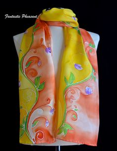 Silk scarf hand painted petite flowers on a swirling vine on a