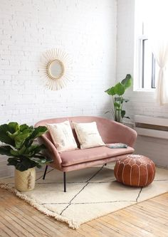 rose colored sofa