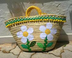 cesta-capazo primavera (grande)  cesta-capazo  tejidos,ric-rac  trapillo,madroños  cordón cestería  aplicación,cosido a mano