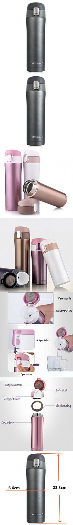 Altruism 500ml Thermoses Cup Double Wall Stainless Steel Thermoses Mug Drinkware Travel Thermoses Coffee Cup Thermoes Vacuum Fask Cups (Black, 500ML)