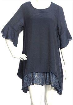 Indigo blue solid Kaftan Boho Navy Blue Lace Layered Flattering Design Tunic-2X #SCC #Blouse #Casual