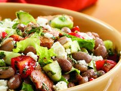 Toasted Pita & Bean Salad. Beans add protein to this tasty riff on the classic Middle Eastern salad fattoush, made with lettuce, cucumbers, tomato, mint and pita bread.   from kashi.com