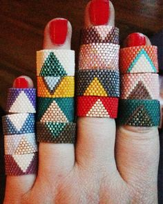 Custom-made Peyote Stitched Ring by homegrownglam on Etsy