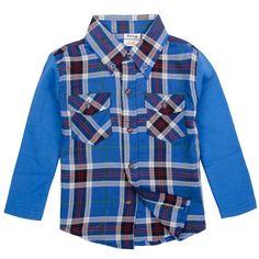 Boys Long Sleeve Plaid Shirt-Assorted
