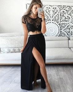Two Pieces Short Sleeve Sexy Side Slit Black Lace Long Chiffon Prom Dresses,SVD520