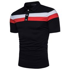 Personality Men's T Shirt Homme Casual Slim Short Sleeve Patchwork T Shirt Top Mens T Shirts Camisetas Color black Size M Camisa Polo, Polos Lacoste, Tee Shirt Homme, Shirt Men, Business Casual Men, Striped Polo Shirt, Golf Shirts, Polo Tees, Men Shirts
