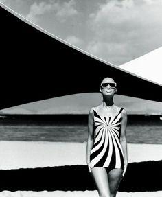 1966, Greece. Model Brigitte Bauer. Op Art swimsuit by Sinz Vouliagmeni. Photo by Franz Christian Gundlach (B1926)