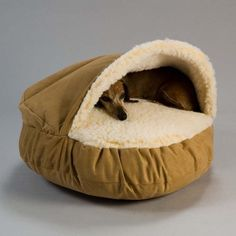 Cave-type bed keeps pets cozy and is the perfect accent to any dcor.