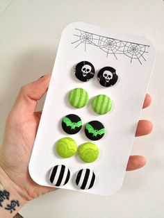 Fabric Button Earrings, Set of 5. Skulls, Bats, Stripes, Paisley. Lime Green and Black.