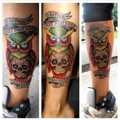 Colorful owl tattoo with Mayday Parade quote. Shin tattoo. Leg tattoo.