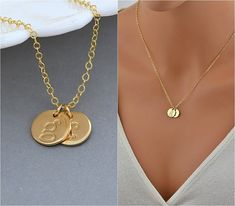 #Personalized Disc Necklace, Two Initial Necklace, Gold or Silver Initial Necklace, Delicate Gold Necklace, Mothers Gift, Everyday Necklace, Initial Necklace Gold, Two Disc ... #monogram #personalized