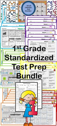 NwEa Map Prep Review K-1 Whole Collection Over 90 Usable Pages of ELA & Math Key Concepts & Vocabulary Review- 1st Grade #Common core aligned