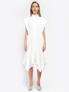 Viola Shirt Dress by Elohim Pin Tucks, Swords, Button Up, White Dress, Short Sleeve Dresses, How To Wear, Cotton, Shopping, Tops