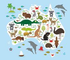map of Australia. Echidna Platypus ostrich Emu Tasmanian devil Cockatoo parrot Wombat snake turtle crocodile kangaroo dingo octopus fish. Vector illustration reptilian; fauna; art; various; set; design; young; artwork; illustration; smile; crab; graphic; summer; koala; zoology; bear; mammal; bird; natural; australian; australia; tree; isolated; happy; cartoon; reptile; dog; wildlife; jungle; starfish; vector; zoo animals; baby shower; platypus duckbill ornithorhyncus; echidna; ostrich Emu…