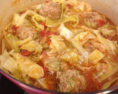 Paleo Un-Stuffed Cabbage Soup.  If you like stuffed cabbage, you'll like this!  Tastes just like it!