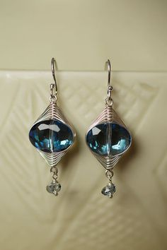 Unique handmade crystal fashion earrings for women feature our sterling silver herringbone weave and Swarovski crystal