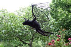 Iron wire sculpture BAT  by David Vanorbeek  www.vanorbeek.com-Want in My garden!
