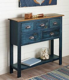 Rustic Wooden Hall Console, Two-Tone | L.L.Bean Possible sofa table; they have matching end tables