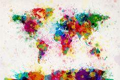 Kleurrijke wereldkaart bestaand uit verfspatten Kunstdruk op gespannen doek van Michael Tompsett bij AllPosters.nl