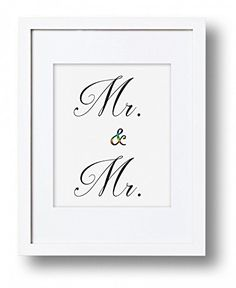 Mr and Mr Same Sex Marriage Wedding Print, Equal Rights Gay Rights Art Print, Weding Sign, Typography, Rainbow, Grooms Engagement