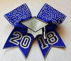 3D with Rhinestones Senior cheer bow. Cheerleader graduation. 2018 graduate present. Cheerleading gift. #ad