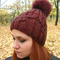 """Women's winter hat """"Flocart"""" red Stylish and original hat. Handmade, seamlessy knitted, blue with a bubo of natural dyed fur. Winter Hats For Women, Knitted Hats, Roman, Fur, The Originals, Knitting, Stylish, Natural, Handmade"""