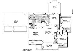 First Floor Plan of Traditional   House Plan 59647