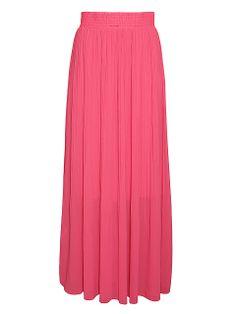 Długa, plisowana, rozkloszowana spódnica w żywym kolorze