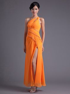 One Shoulder Chiffon Side Draped Evening Dress with Split Skirt and Rhinestone Brands:TOSCANew Product:YESFreeship:YESColor (Related):OrangeModel Name:DahsaTailoring Time (Standard):15-20 DaysTailoring Time…
