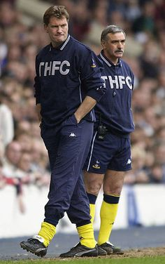 Manager Glenn Hoddle and his assistant John Gorman watch from the touchline during the FA Barclaycard Premiership match between West Bromwich Albion and Tottenham Hotspur on April 2003 at The. Tottenham Hotspur Players, West Bromwich, North London, Rey, Management, Club, Watch, Clock