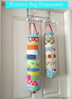 Plastic Bag Dispenser - patchwork made with fabric scraps #SameliasMum