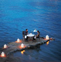 Waterside dining at Kivotos Hotel / Mykonos, Greece  [Whatever you do, don't drink too much.]
