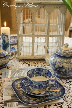 Blue and white, Victoria magazine.  Aiken House & Gardens: Afternoon Tea