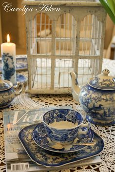 Blue and white, Victoria magazine.  Aiken House & Gardens: Afternoon Tea