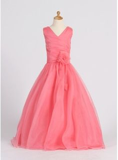 A-Line/Princess V-neck Floor-Length Organza Flower Girl Dress With Ruffle Flower(s) $122