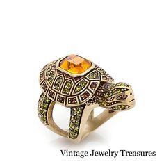 Heidi Daus Slow Poke Turtle Crystal Accented Ring Size 5 New HSN #HeidiDaus
