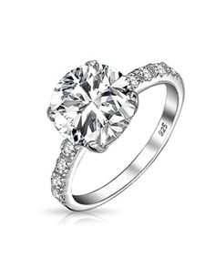 Bling Jewelry Bling Jewelry Round 3.5ct Cz Solitaire Engagement Ring With Side Stones Sterling Silver