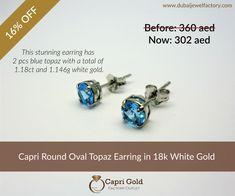 854d39db0d1c4b Capri Round Blue Topaz Earrings in white Gold.Dubai Jewel Factory's Special  Deals #earrings