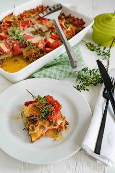 Paprika-Kartoffel-Auflauf mit Hackfleisch und Oregano