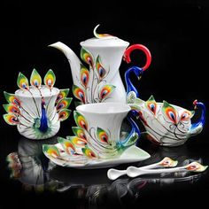 peacock cups and saucers | Details about Peacock Coffee Set Tea Set Pot/Cup/Creame r/Saucer/Spoon