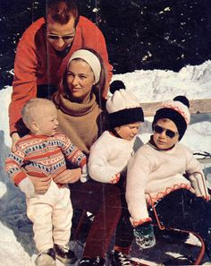 King Albert and Queen Paola of the Belgians on ski vacation, with, from right to left, prince Philippe (now King), prince Laurant and princess Astrid