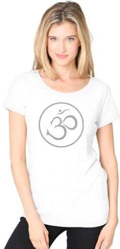 Ladies Recycled Triblend Yoga Tee Shirt - Thin Om Symbol - Eco White / Small, Women's