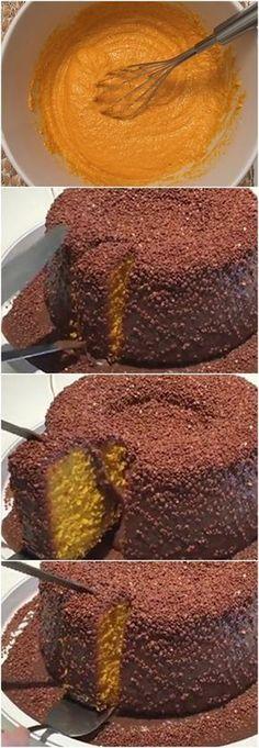 BOLO DE CENOURA VULCÃO 2 latas de leite condensado #receita#bolo#torta#doce#sobremesa#aniversario#pudim#mousse#pave#Cheesecake#chocolate#confeitaria