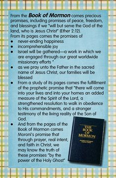 Book of Mormon Promises....perfect to  remember for studying the book of Mormon