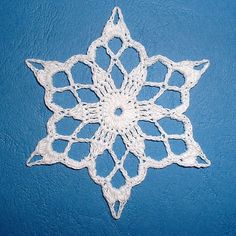 Ravelry: 1 - Snowflake with Flower Centre pattern by Anchor Free Crochet Doily Patterns, Crochet Snowflake Pattern, Crochet Flower Tutorial, Crochet Snowflakes, Crochet Motif, Crochet Christmas Decorations, Crochet Ornaments, Snowflake Ornaments, Crochet Car