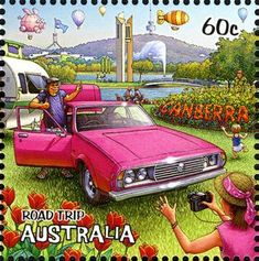 postage stamp from Australia - part of a series featuring an Australian road-trip - this one is the city of Canberra Postage Stamp Art, Penny Black, Vintage Travel Posters, Stamp Collecting, Australia Travel, Road Trip, Around The Worlds, Decoupage, Pictures
