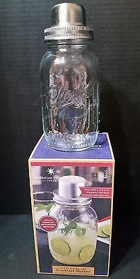 Classic Mason Jar Cocktail Shaker - 32 Oz Cocktail Set American Vintage New