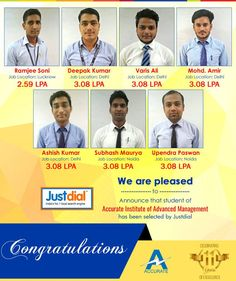 We are pleased to Announce that student of Accurate Institute of Advanced Management has been selected by Justdial. #Accurate #Placement