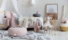 Crushing on a colour scheme of blush pink complimented by earthy tones and hints of grey.   #scandinavian #girlsroom #kidsdecor #girlsdecor #floorcushions #floorcushion #monogrammed #girlsroomsinpo #pink #blushpink #bedroom